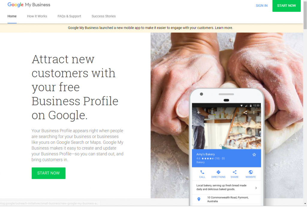 google my business homepage