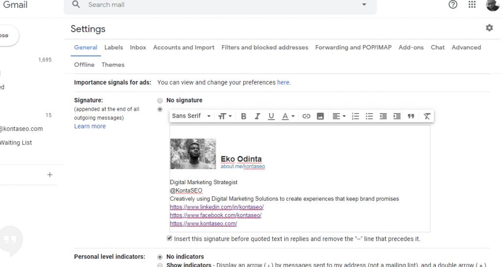 how to create a branded email signature in gmail KontaSEO