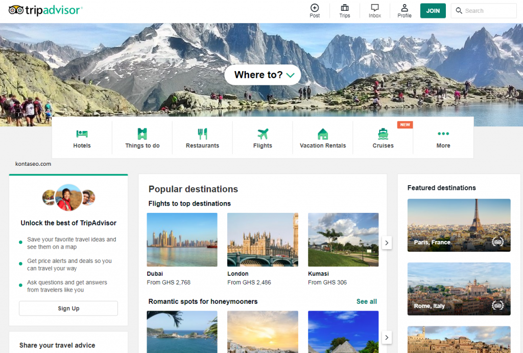 trip advisor free places to market your business online