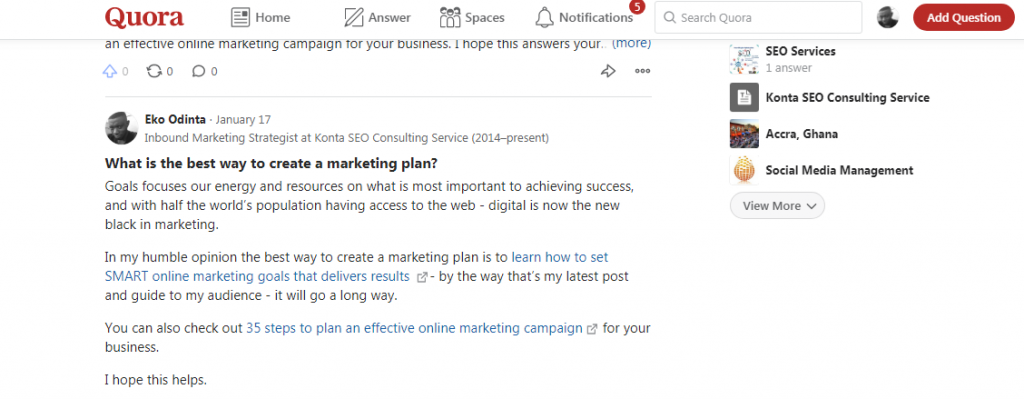 Quora Q & A site for seo linkbuilding