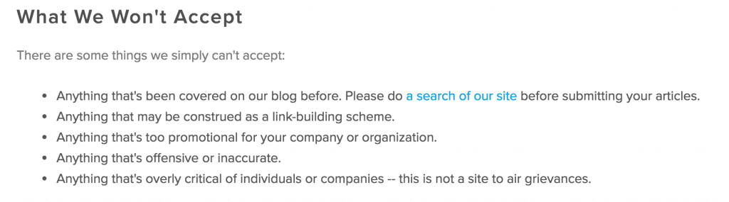 example guest posting best practices & guidelines