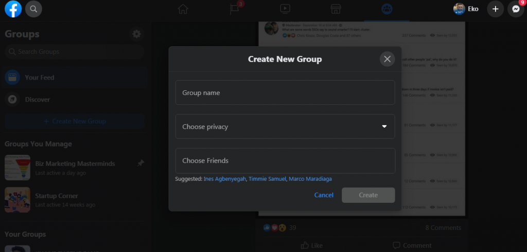 how to create a facebook group from scratch