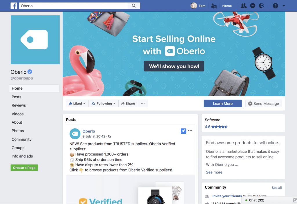 Oberlo Facebook business page