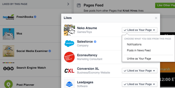 Like other business pages to grow your reach