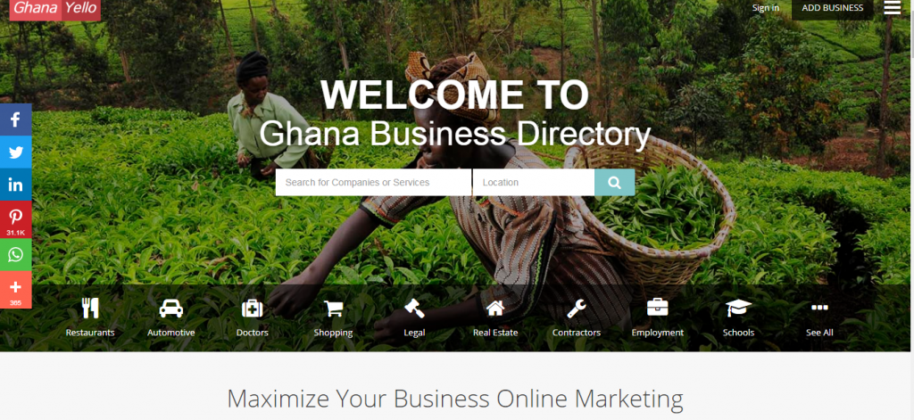 Advertise on Ghana yello to maximize your business online marketing