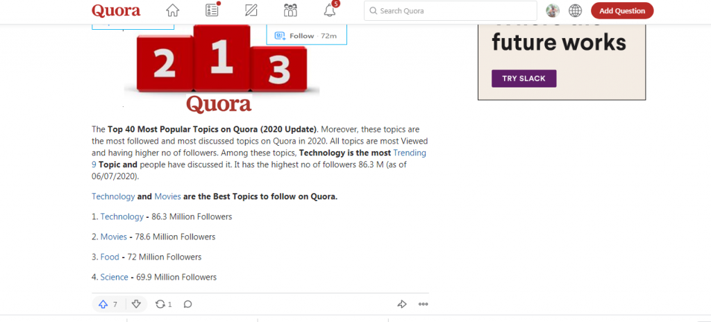 use quora to build brand awareness and attract website traffic.